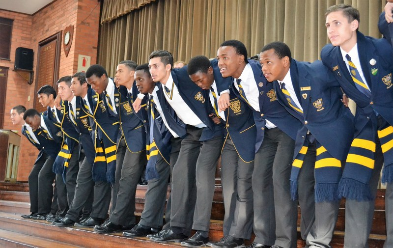 The Prefects lead the War Cry at Founders Assembly
