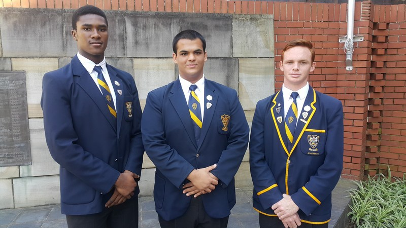 Head Prefects for 2018! Celimpilo Gumede (Deputy), Zakariya Adam (Head Prefect) and Ethan Mack (Deputy)