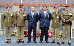Corporal Sergio Campos (Natal Mounted Rifles), Col. Patrick Acutt, Mr A D Pinheiro (DHS Head Master), Zakariya Adam (DHS Head Prefect 2018), Major Mark Levin and Lt Col Greg de Ricquebourg (Durban Light Infantry)