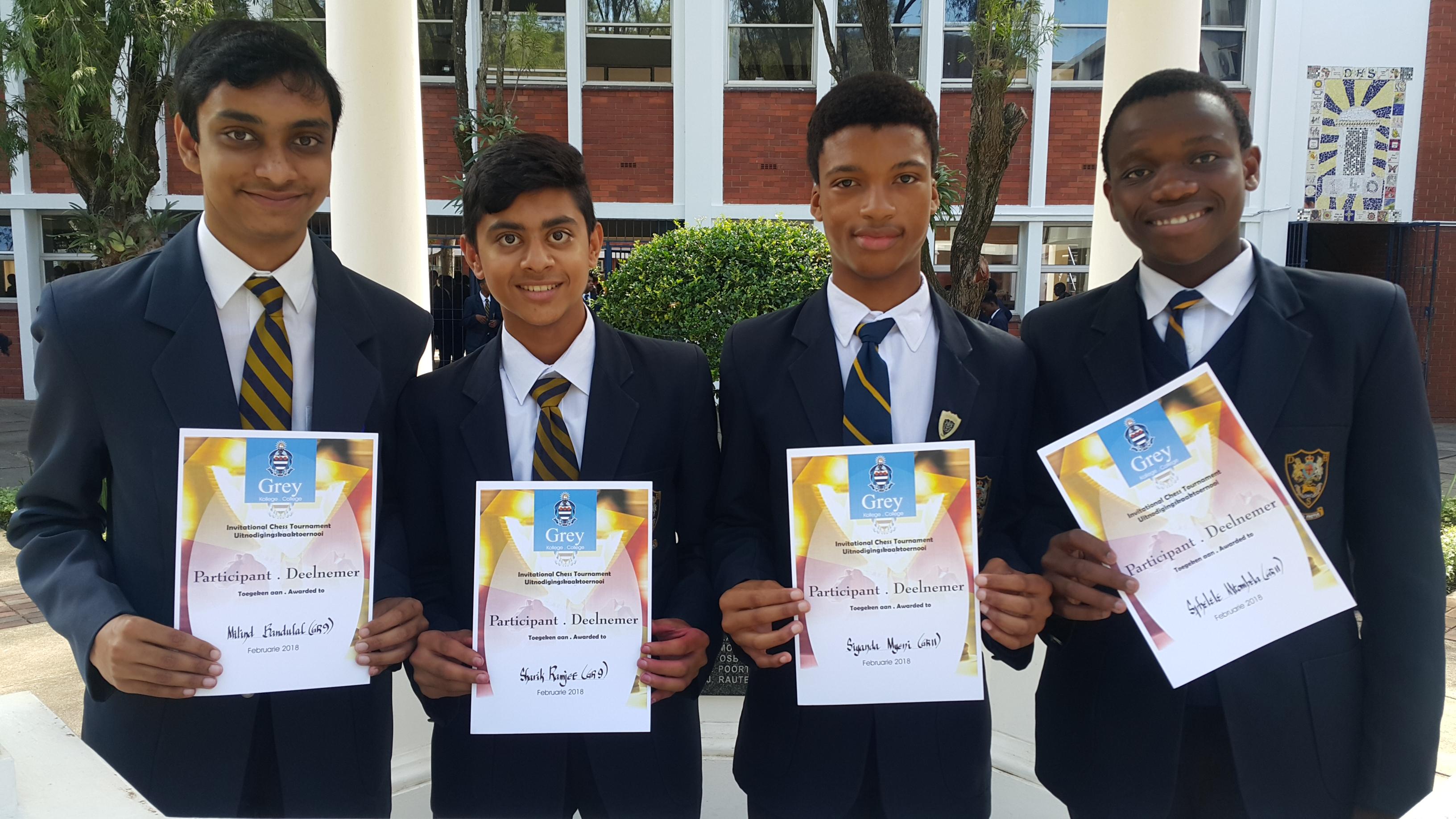 The DHS C Team, Milind Bandulal, Sharik Ramjee, Siyanda Myeni, and Sphelele Mtombela placed 8th in the B Section