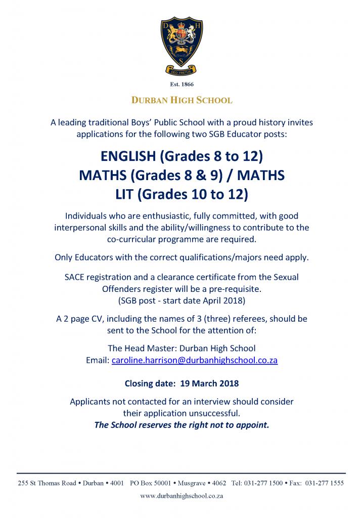 Staff Advert March 2018 Maths & English