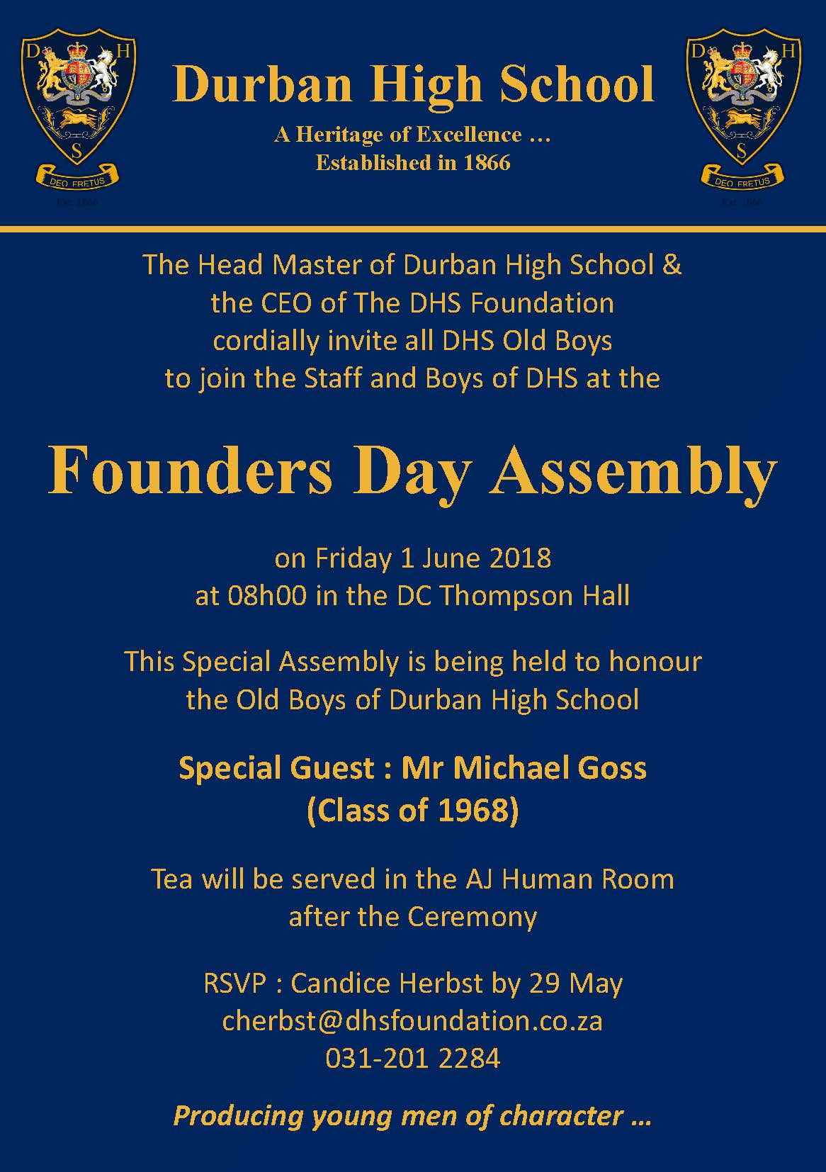 Old Boys Assembly : 1 June