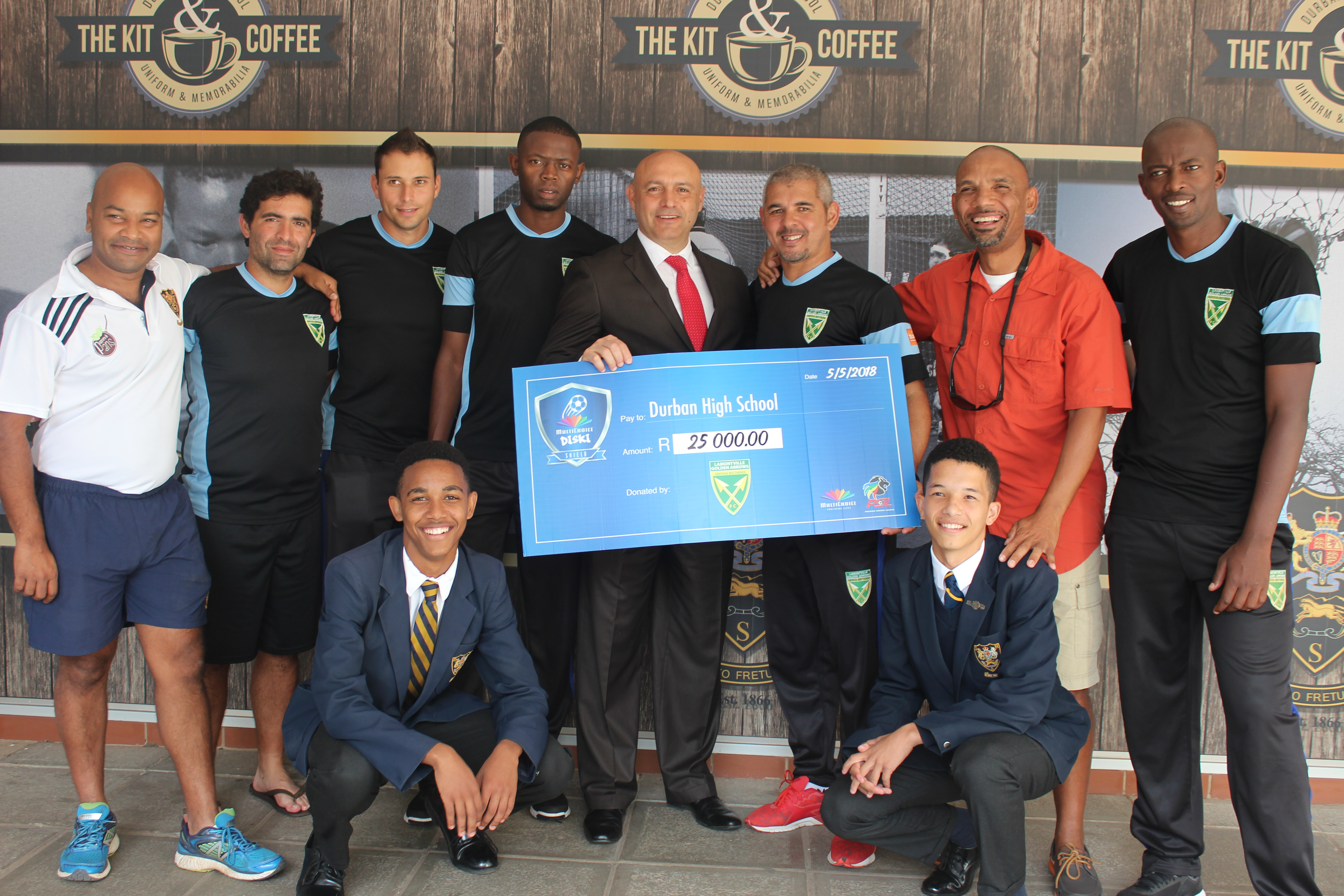 Head of Sport Mr Nathan Pillay, Goal Keeper Coach Ricardo Goncalves, Physical Trainer Pedro Picarro, Diski Team Coach Vusumuzi Vilakazi, Head Master Mr AD Pinheiro, Head Coach of the Golden Arrows Clinton Larsen, GB Member Noel Stapelfeldt, Diski Team Coach Papi Zothwane and DHS Boys Jazimin Stapelfeldt and Kyle Thyssen