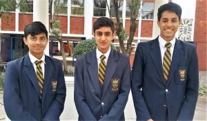 Cambridge 9 & 10 (from right): Adam Mohamed (Grade 10), Naseem Essa (Grade 9), Sharik Ramjee (Grade 9)