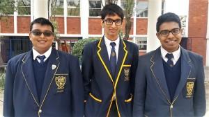 Grade 11 (from right): Rashae Govender, Abdul Osman and Vidhan Singh, Absent:  Thirushan Pather, Mohammed Shaikjee