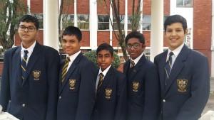 Grade 8 (from right): Daniel Kreuzer, Darian Robert, Arjun Ramphal, Yash Haricharan, Vitthal Ramessur