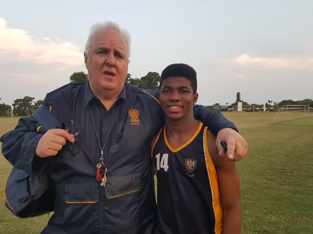 Kwanele Manukuza with Coach Goodwin
