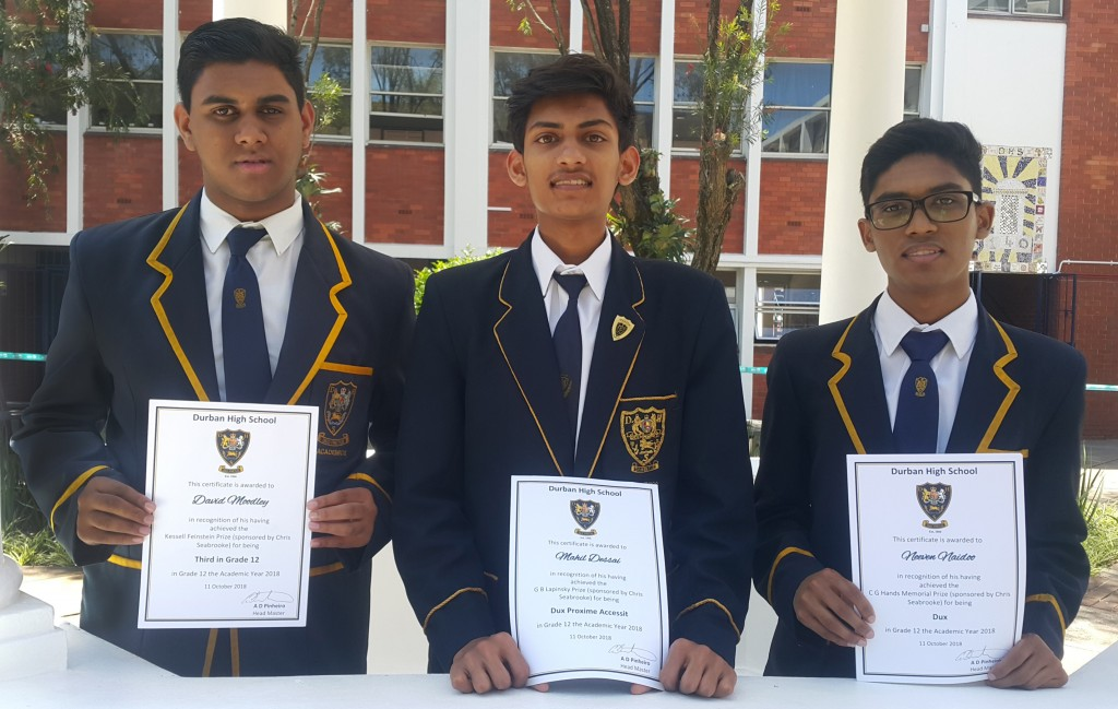 Top 3 in Grade 12 David Moodley (3rd), Mahil Dessai (2nd) and Neeven Naidoo (Dux)