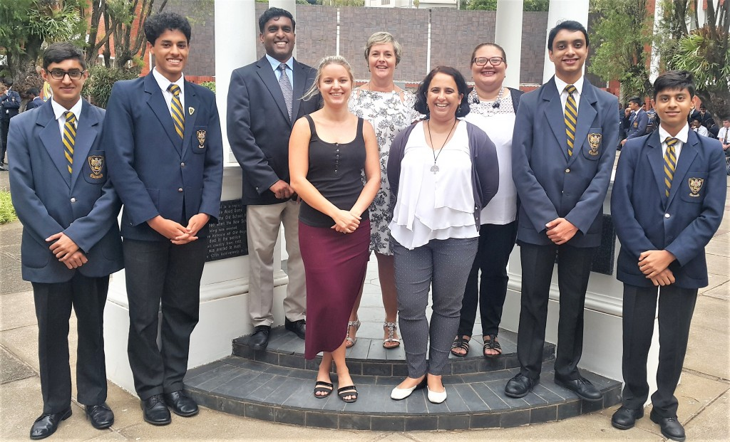 Congratulations to the Boys and Staff on the excellent Cambridge Results! From left:  Naseem Essa, Adam Mohamed,  Mr D Naidoo (Physics & Chemistry), Ms E Hodge (History),  Mrs C Dickinson (Head of Cambridge Academy),  Mrs T Vawda (English), Mrs A Sutherland (Afrikaans),  Milind Bandulal and  Sharik Ramjee