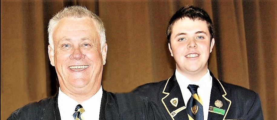Jonathan Spanos at Senior Prize-Giving in 2010 with Head Master at the time, Mr David Magner