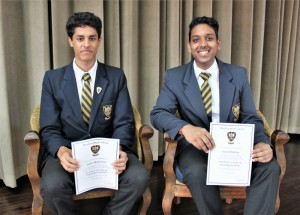 Top in Grade 10 Cambridge Adam Mohamed (1st) and Karan Moodley (3rd)
