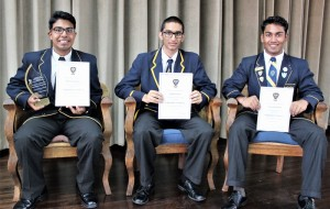 Top 3 in Grade 11 Rashae Govender (1st), Abdul Osman (2nd) and Thirushan Pather (3rd)
