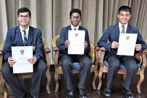 Top 3 in Grade 8 Vitthal Ramessur (3rd), Darian Robert (1st) and Yash Haricharan (2nd)