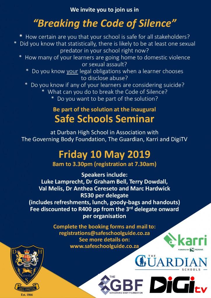 Last Safe Schools Seminar Flyer