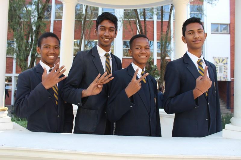 Grade 10 Top 5 (from right) Jadin Dayanund, Tusani Mthembu, Elijah Chetty, Skye Sibisi (Absent : Mikail Kreuzer)