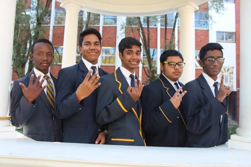 Grade 11 Top 5 (from right) Deshlan Pillay, Mas'ood Bassa, Sachen Pather, Shukvir Mothilall,  Ayanda Yengwa