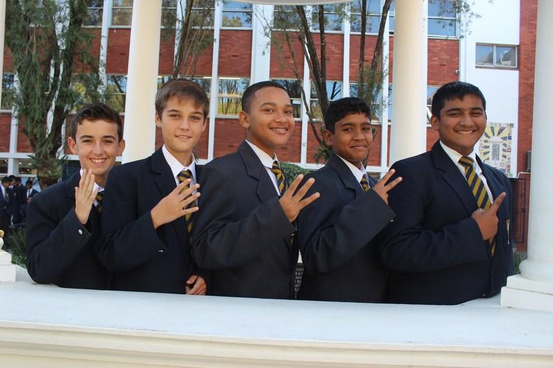 Grade 8 Top 5 (from right) Abhay Nunan, Kian Rama, Finnley Wyllie, Kyle McCalgan, Dino Veludo