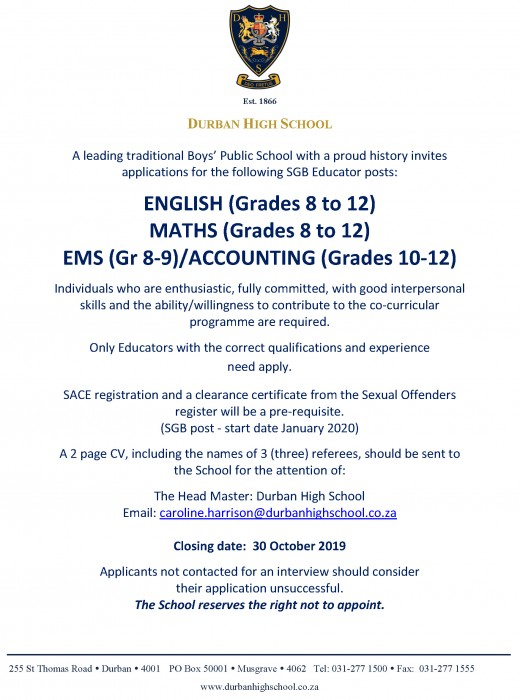 Staff Advert October 2019 Maths Eng Acc
