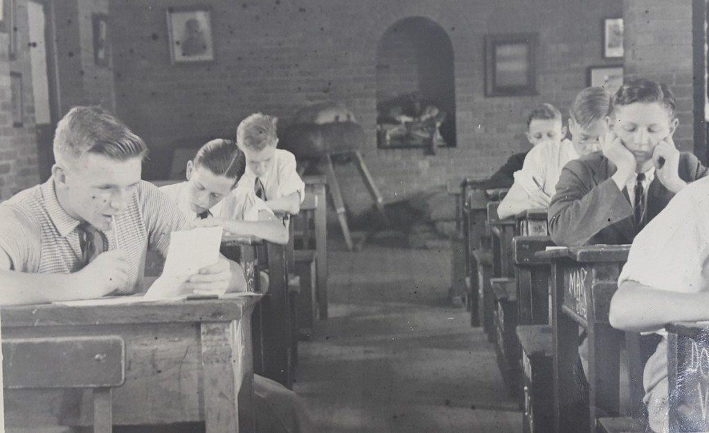 DHS Boys writing exams in the Old Hall