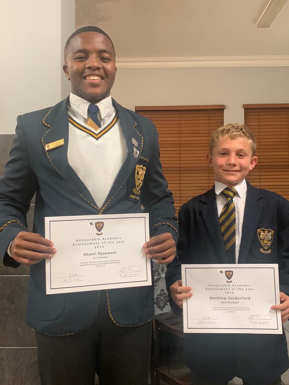 Xhanti Njokweni with Grade 8, Daniel Delderfield