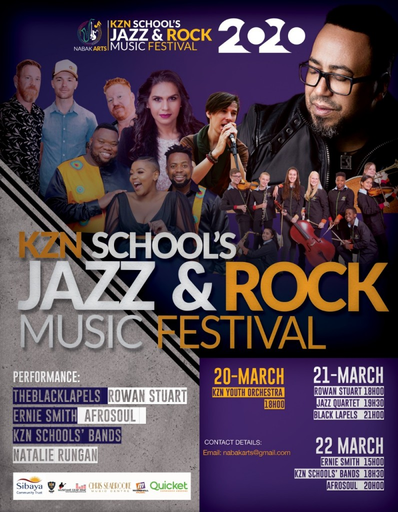 KZN Schools Jazz & Rock Music Festival Performers Poster