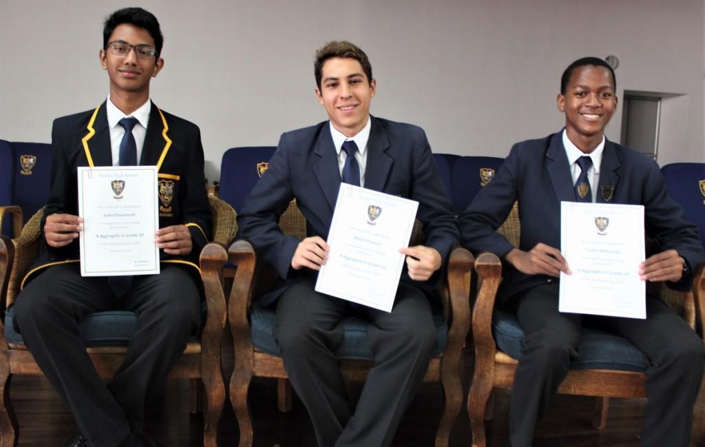 Grade 10 Top 3 (from left) Jadin Dayanund (3rd), Mikail Kreuzer (1st), Tusani Mthembu (2nd)