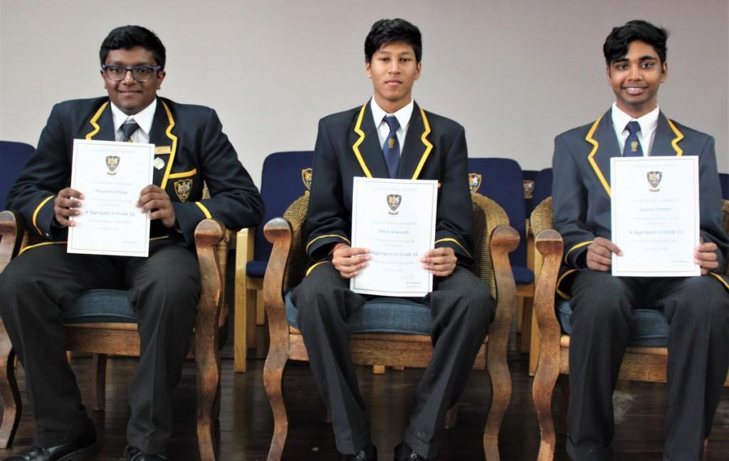 Grade 11 Top 3 (from left) Thiyashan Pillay (2nd), Talon Sewnath (1st), Sachen Pather (3rd)