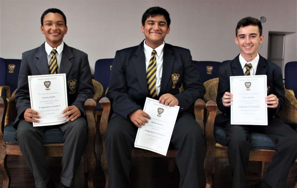 Grade 8 Top 3 (from left) Finnley Wyllie (2nd), Abhay Nunan (1st), Dino Veludo (2nd)