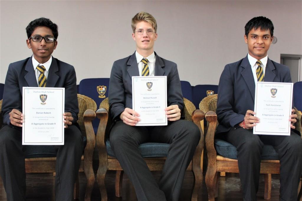 Grade 9 Top 3 (from left) Darian Robert (2nd), Michael Russell (1st), Haricharan Yash (2nd)