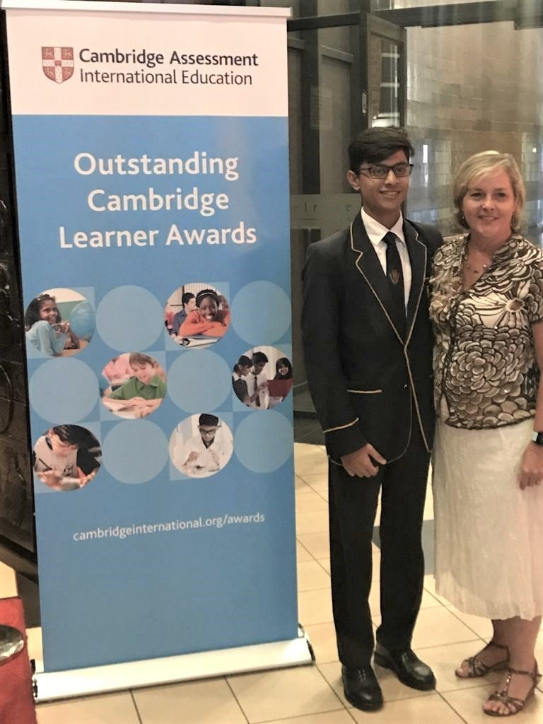 Sharik Ramjee and Mrs Dickinson at the Awards Ceremony