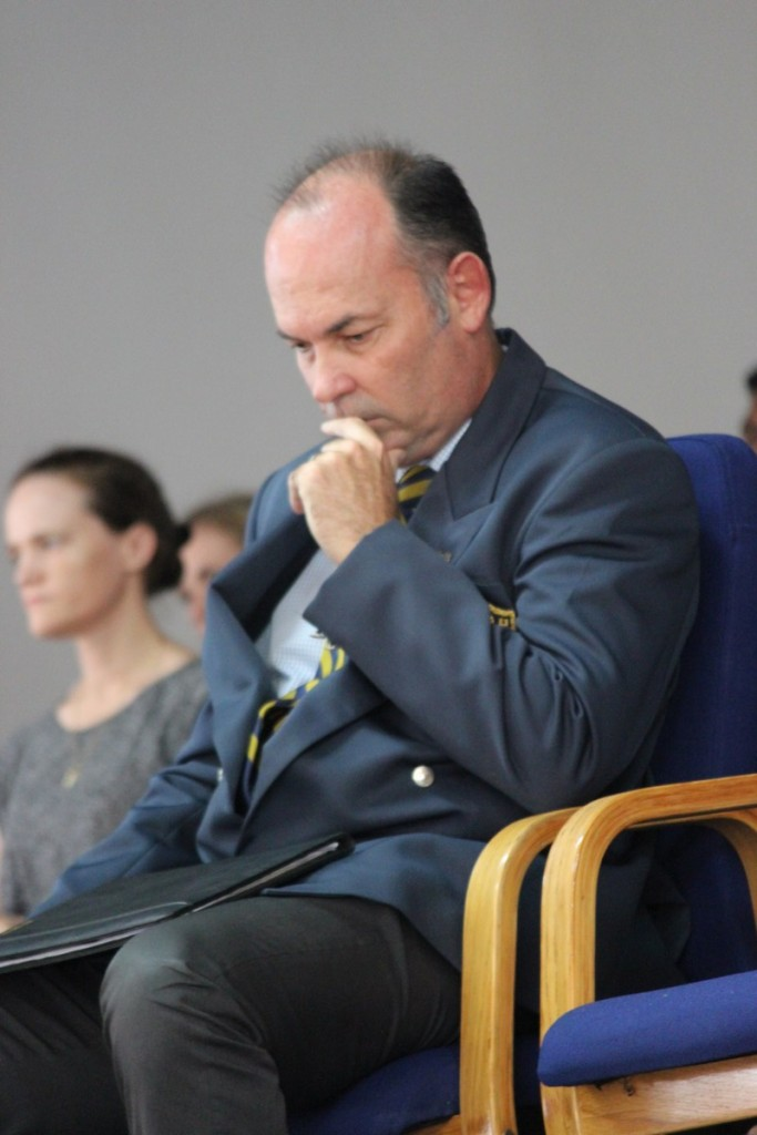 A pensive Mr Norton at his Farewell Assembly