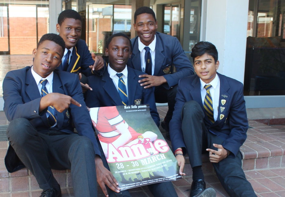 DHS Boys cast in the Maris Stella production of Annie