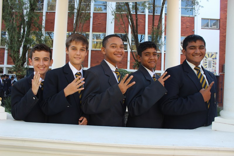 Grade 8 Top 5 (from right) Abhay Nunan, Kian Rama, Finnley Wyllie, Kyle McCalgan, Dino Veludo