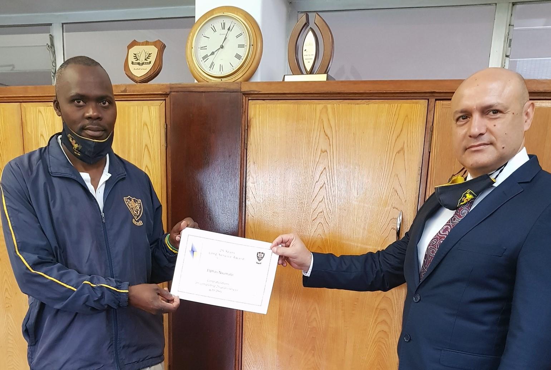Elphus Nxumalo with Mr Pinheiro